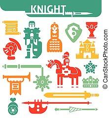 Set Of Monochrome Icons Knight