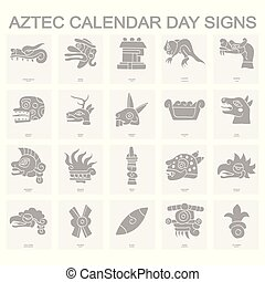 icons with Aztec calendar Day signs - set of monochrome ...