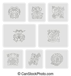 set of monochrome icons with celtic art and ethnic ornaments for your design