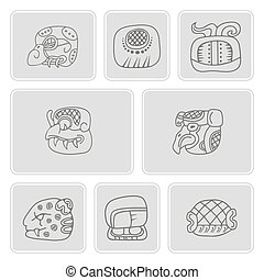 set of monochrome icons with glyphs