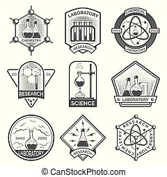 Set of monochrome laboratory research elements with flasks, tubes and molecular structure labels, logos, badges, emblems