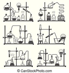 Set of monochrome laboratory research elements with flasks, tubes and molecular structure