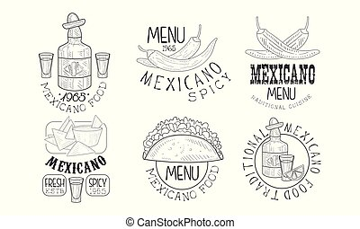 Set of monochrome logos related to Mexican cuisine. Hand drawn vector emblems with chili peppers, traditional snacks, tequila and lettering