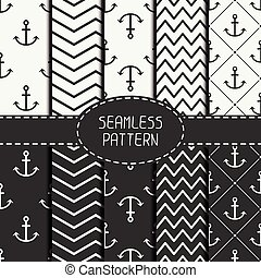 Set of marine geometri seamless pattern with anchor. Collection of paper for scrapbook. Vector background. Tiling. Stylish graphic texture for your design, wallpaper, pattern fills.