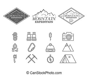 Set of monochrome mountain camp badge, logo and label and icon templates. Travel, hiking, climbing style. Outdoor. Best for adventure sites, travel company etc. Isolated on white background. Vector