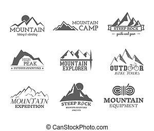 Set of monochrome outdoor adventure explorer camp badge,...