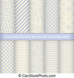 Set of monochrome seamless backgrou