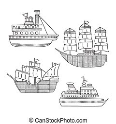Set of monochrome vector doodle boats and ships isolated on white background