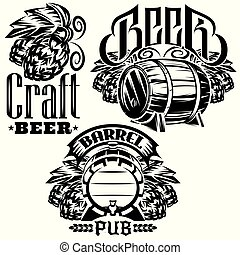 Set of monochrome vector templates for packaging design for beer