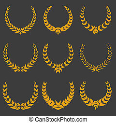 set of monochrome vector wreaths