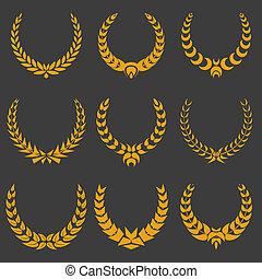 set of monochrome vector wreaths