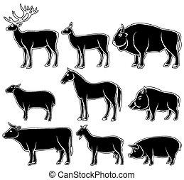 Set of monochrome wild and domestic animals for design