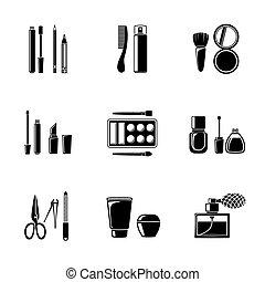 Set of monocrome makeup icons - mascara, polish, powders, lipsticks, perfume, lotions, comb, nail clipper. Vector