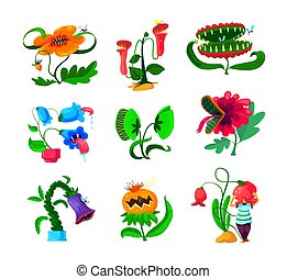 Set of Monster Plants Icons, Dangerous Tropical Flowers, Alien Creatures with Sharp Teeth and Poisonous Saliva Isolated on White Background. Creepy Predator Blossoms. Cartoon Vector Illustration