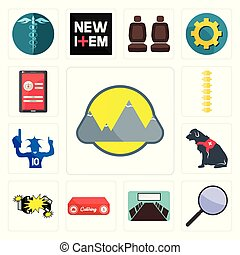 Set of montain, focus group, conference room, catering, car crash, service dog, sports fan, spine, login screen icons