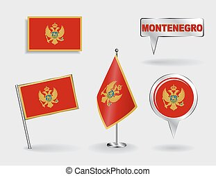 Set of Montenegrin pin, icon and map pointer flags. Vector...