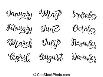 Set of months hand lettering: January to December