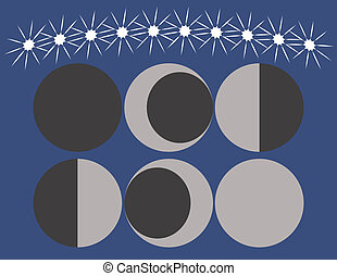 Set of moon phases on a night sky