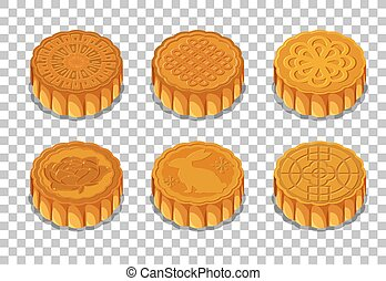 Set of mooncakes isolated on transparent background