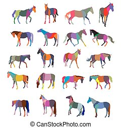 Set of mosaic colorful horses