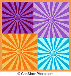set of mosaic vector colorful fireworks