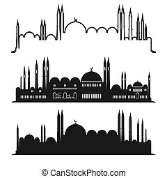 Set of mosque sketches. Vector city design