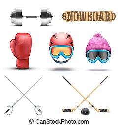 Set of most popular sport equipment