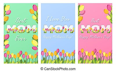 Set of Mothers Day banners. I Love You Best Mom vertical greeting cards with typography and floral elements. Vector illustration. Paper cut style with tulips for posters, social media, highlights