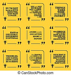 Set of motivational quotes about past, waiting, pain, anger, troubles, criticism and time. Simple note design typography poster. Vector illustration