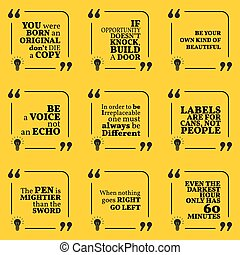 Set of motivational quotes about unique, opportunity, beauty, voice, unusual,, labels and writing. Simple note design typography poster.