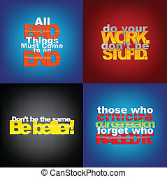 Set Of Motivational Quotes. - Set Of Typographic Backgrounds...