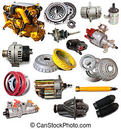 Set of motor and automotive parts. Isolated over white