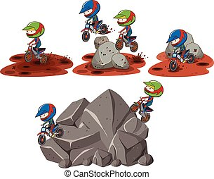 Set of motorcross scenes illustration