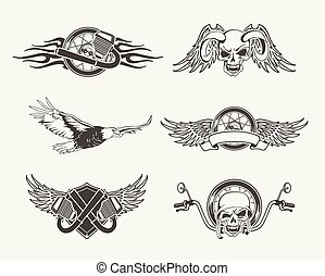 Set of motorcycle emblems, badges, labels and designed elements.