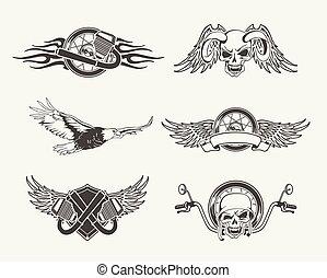 Set of motorcycle emblems, badges, labels and designed...