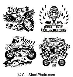 Set of motorcycle emblems