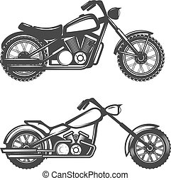Set of motorcycle icons isolated on white background. Design...
