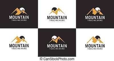 Set of mountain and moon logo vector design collection