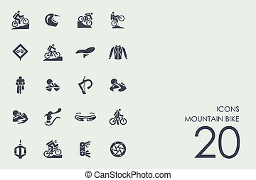 Set of mountain bike icons - mountain bike vector set of...