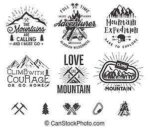 Set of mountain climbing labels, mountains expedition...