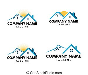 Set of Mountain house logo icon vector template