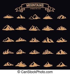 Set of mountain icons in golden style isolated on dark background. Design elements for logo, label, emblem, sign. Vector illustration