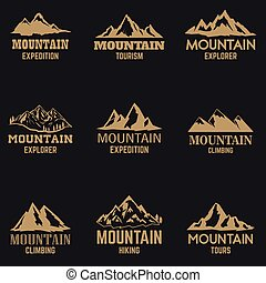 Set of mountain icons in golden style isolated on dark background. Design elements for logo, label, emblem, sign.