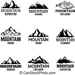 Set of mountain icons isolated on light background. Design elements for logo, label, emblem, sign.