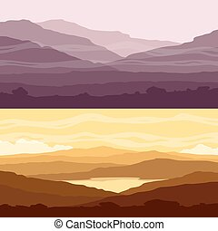 Set of Mountain landscapes