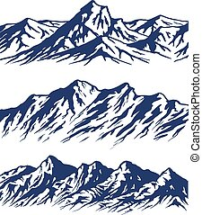 Set of Mountain range silhouettes isolated on white background. Blue vector illustration with copy-space.