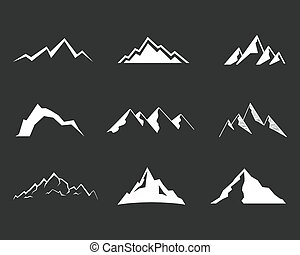 Set of mountain silhouette elements. Outdoor icon. Hand drawn snow ice mountain tops, decorative symbols isolated. Use them for camping logo, travel labels, climbing or hiking badges. Vector illustration
