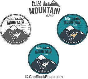 Set of Mountain winter camp vintage explorer labels. Outdoor adventure logo design. Travel hand drawn and hipster insignia. Snowboard icon symbol. Wilderness, forest camping badge. Vector