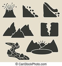 set of mountains icons