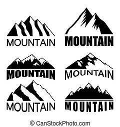 Set of mountains on the white background